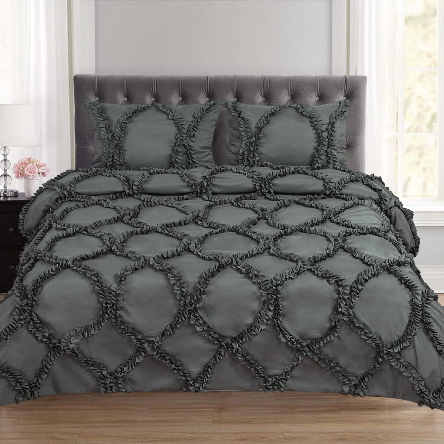Sweet Home Collection 3 Piece Tatiana Fancy Duvet Cover Set with Pillow Shams, Full/Queen, Gray