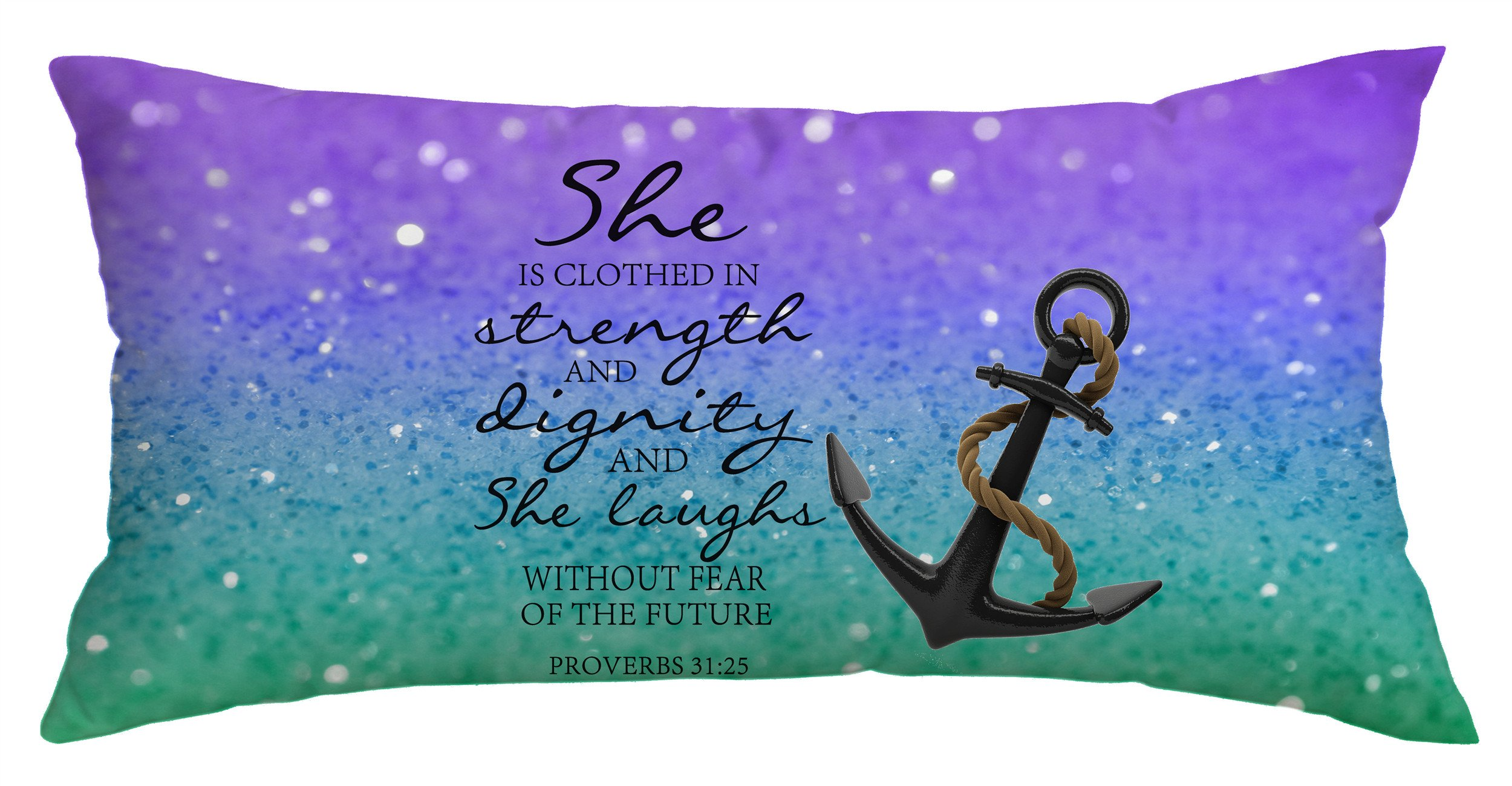 Christian Quotes Glitter Pillow Case Anchor Bible Verse proverbs 31:25 Polyester Decorative Throw Pillow Case Cushion Cover Body Pillow Covers 16 x 40 Inch
