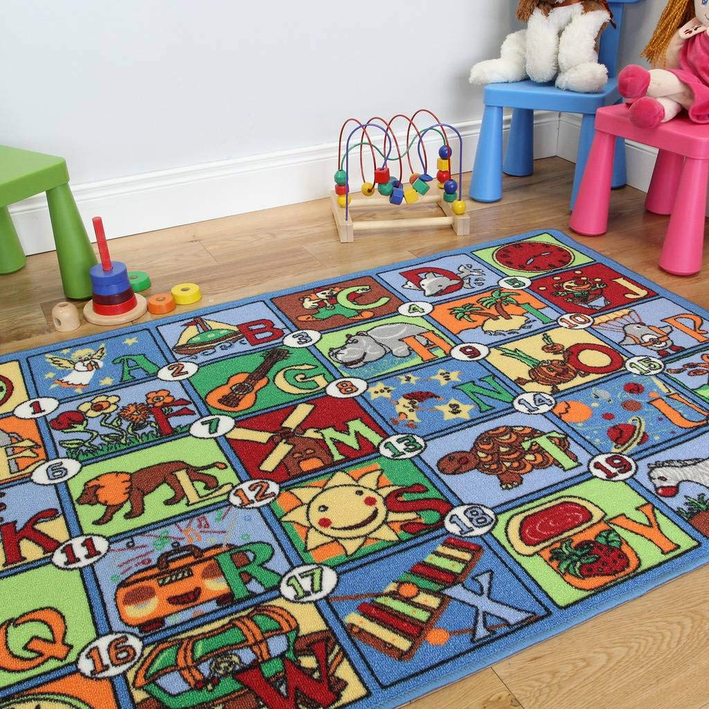 Colourful Letter & Picture Alphabet Fun & Educational Kids Rug 133x200cm The Rug House