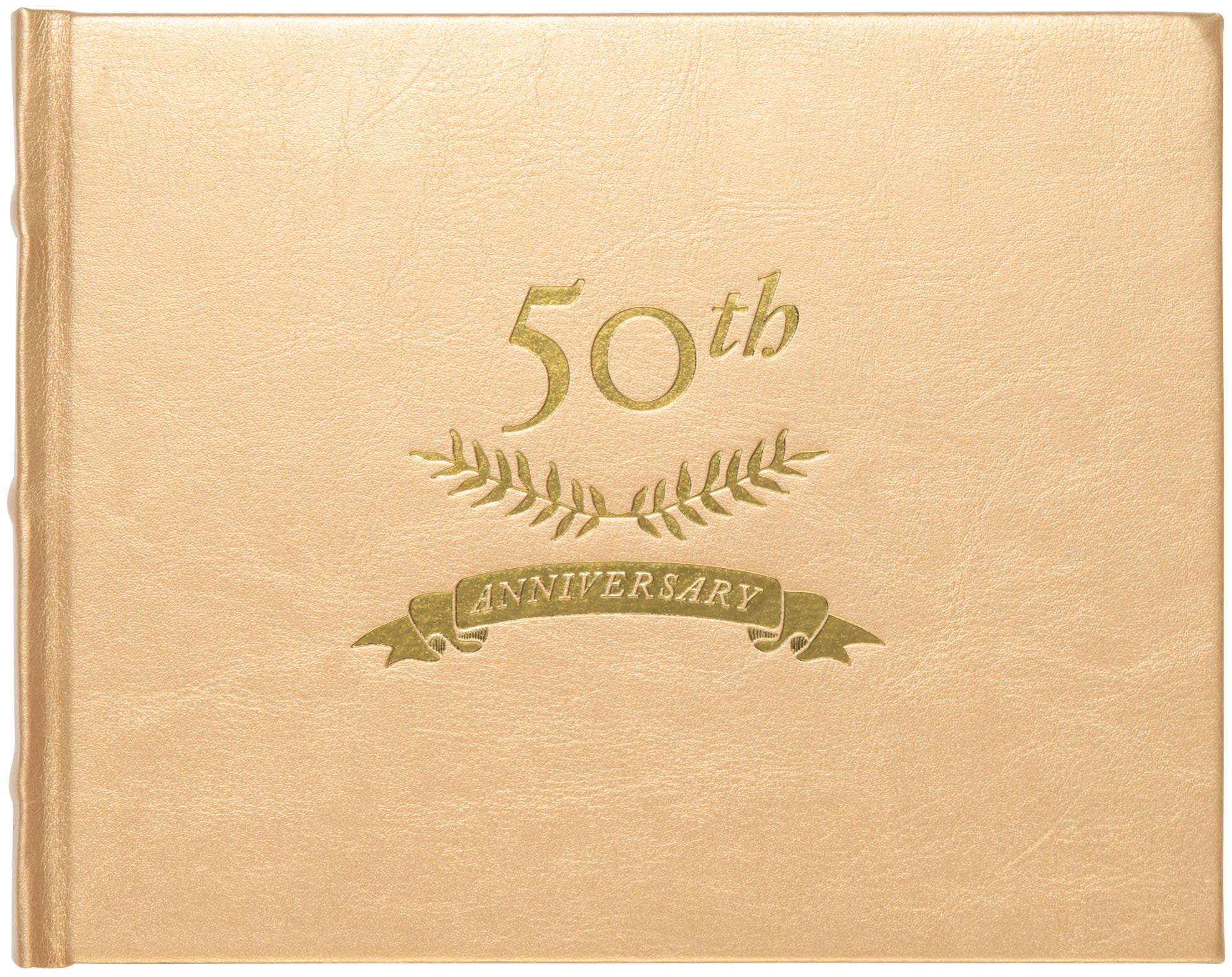 C.R. Gibson Gold 50th Anniversary Guest Book, 200 Pages, 8.6'' W x 6.3'' L