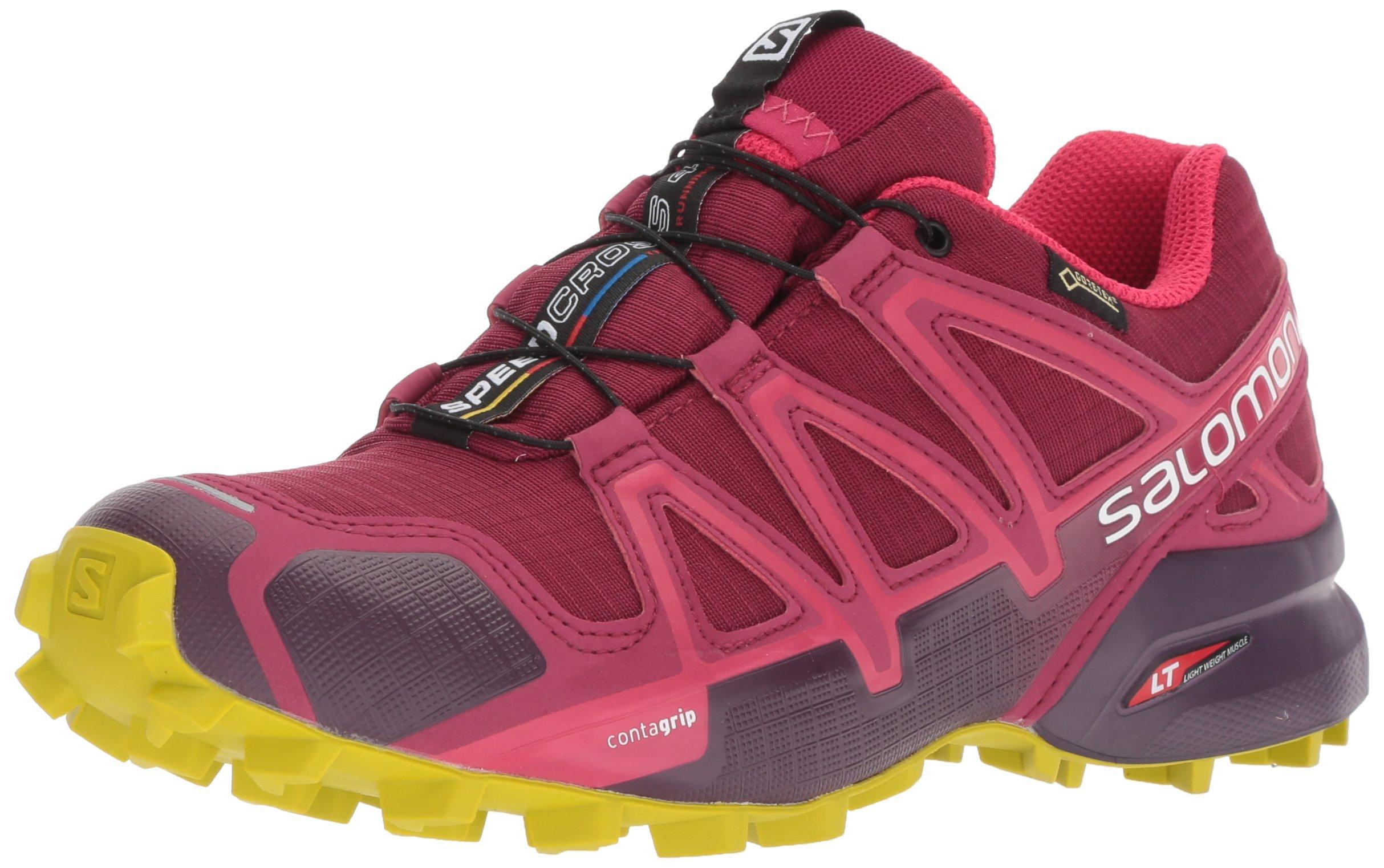Salomon Women's Speedcross 4 GTX W Trail Running Shoe, Beet red/Potent Purple/Citronelle, 11 M US by Salomon