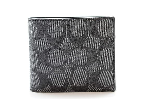 10faa03b90c0 Coach Compact ID Signature PVC Wallet Charcoal Black at Amazon Men s ...