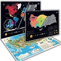 Kazınabilir Dünya, Türkiye Ve Karikatür Türkiye Haritası 3'lü Kutulu Harita Seti Yeni Versiyon Xl