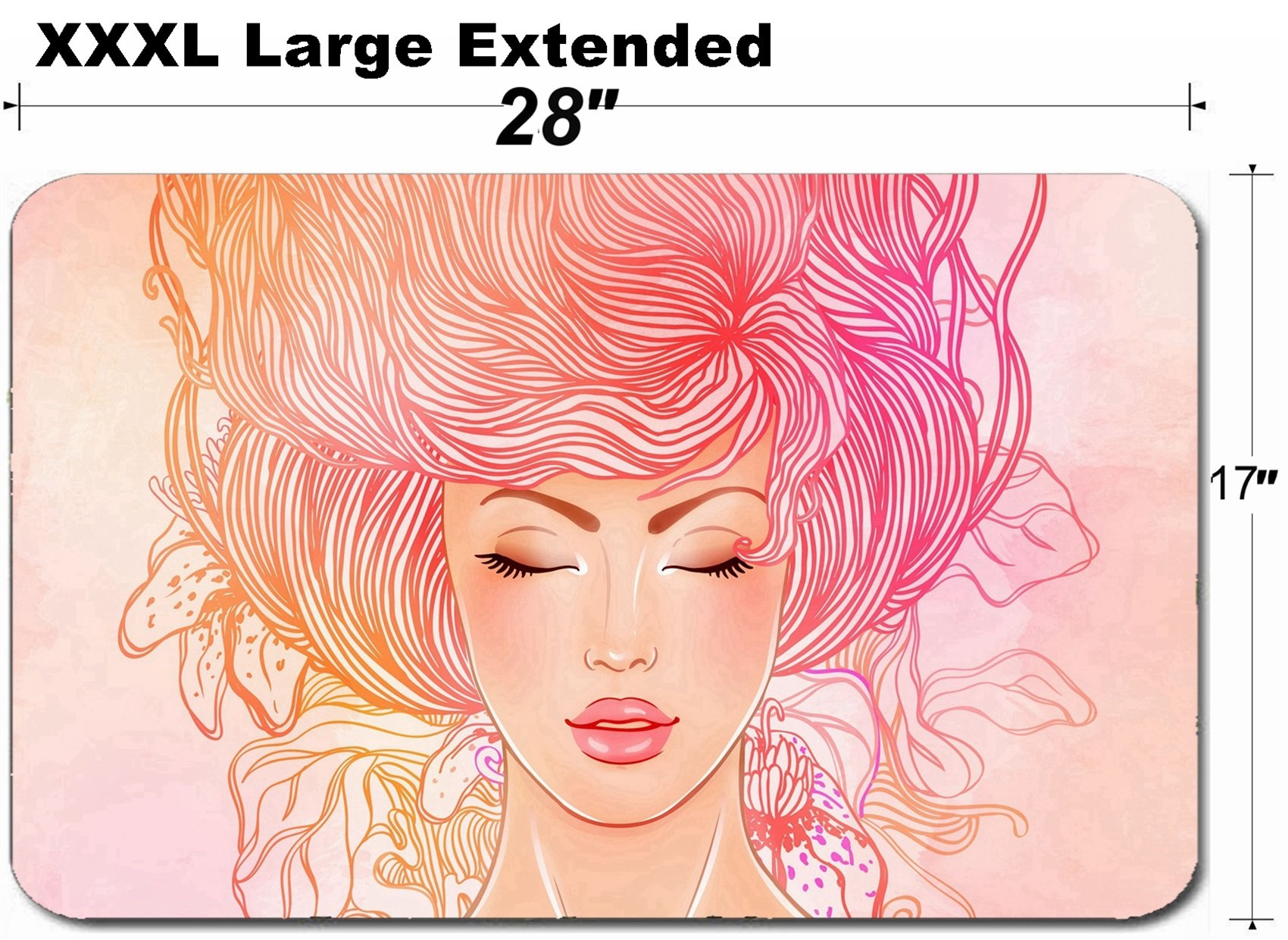 MSD Large Table Mat Non-Slip Natural Rubber Desk Pads Image ID 24547770 Spa Fashion Beautiful Woman with Long Pink Hair