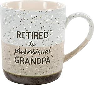 Pavilion Gift Company Large 15 Oz Stoneware Coffee Cup Mug Retired To Professional Grandpa, 15oz, Grey