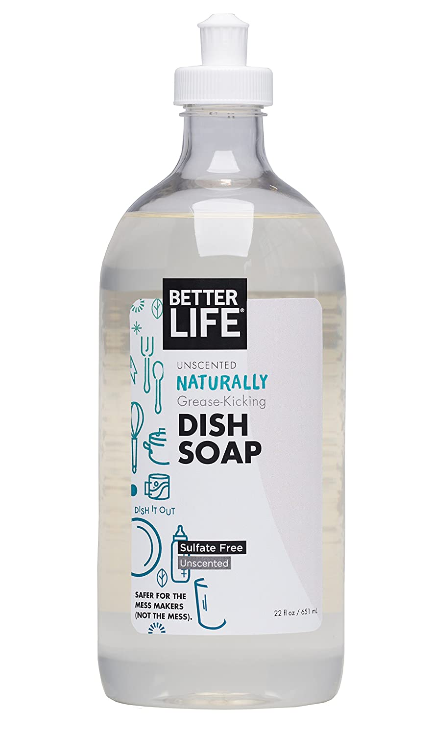 Better Life Sulfate Free Dish Soap, Tough on Grease & Gentle on Hands, Unscented, 22 Ounces, 2406H