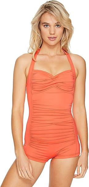 cbf915f7cd4 Seafolly Women's Boyleg Maillot One Piece Swimsuit, Sienna, 4 US ...