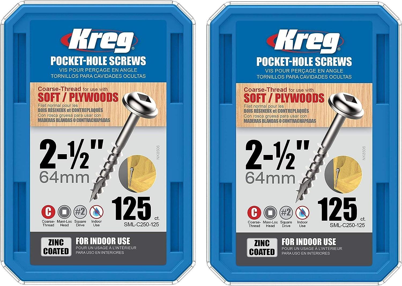 Kreg SML-C250-125 HD Pocket-Hole Screws 125 count