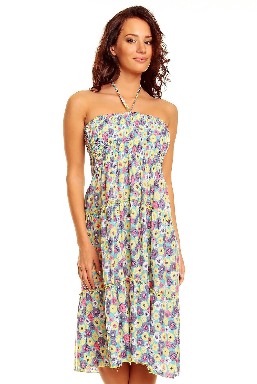 Damen-Kleid mit Blumendruck, Midi-Länge, Sommer, Strand, Urlaub