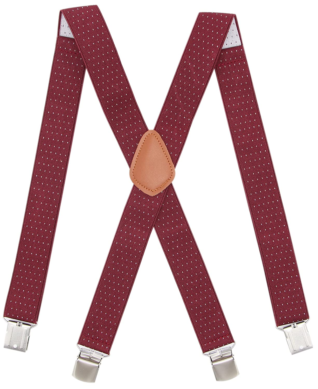 Bioterti Men's Heavy Duty X- Back Suspenders-Adjustable Size, Long & Elastic Braces JEKML-2