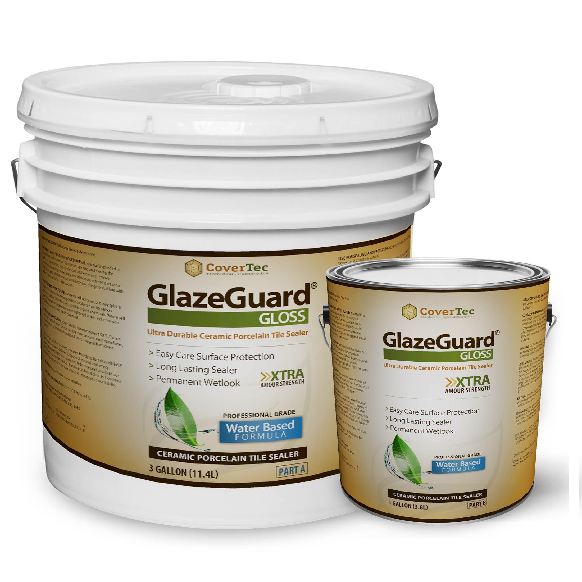 GlazeGuard Gloss Floor Sealer Wall Sealer for Ceramic, Porcelain, Stone Tile Surfaces (4 Gal - Prof Grade (2) Part Kit) by GlazeGuard by CoverTec