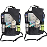 """2 PACK Backseat Car Organizer with holder for iPAD or Tablets up to 10.1"""" - Snap on Flap to Protect and Hide iPad from View (Large, Black)"""