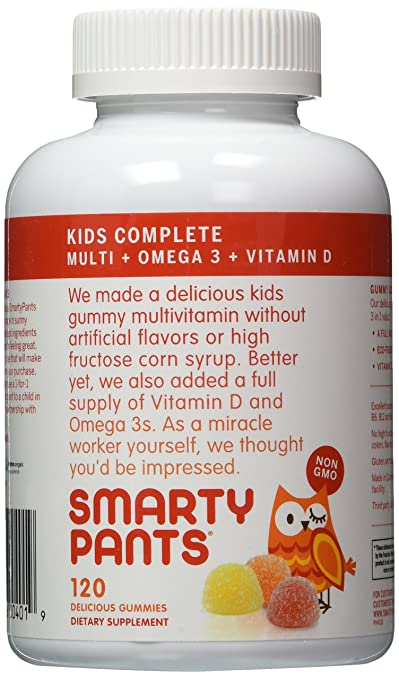 SmartyPants Children's All-in-One Multivitamin Plus Omega-3 Plus Vitamin D 120 Gummies (Pack of 2)