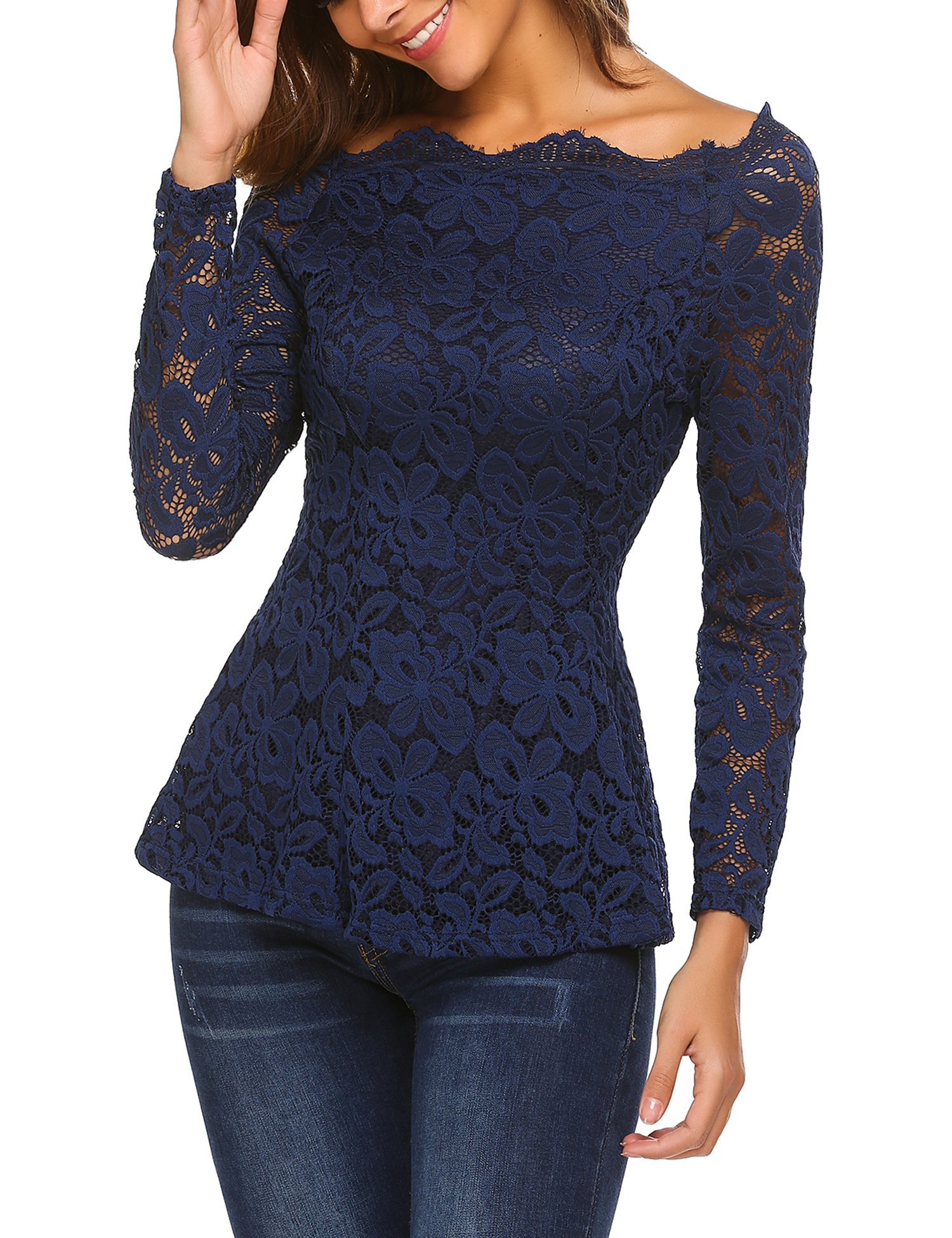bubblebelle Women's Floral Lace Crochet Off The Shoulder Peplum Blouse Top Navy Blue L