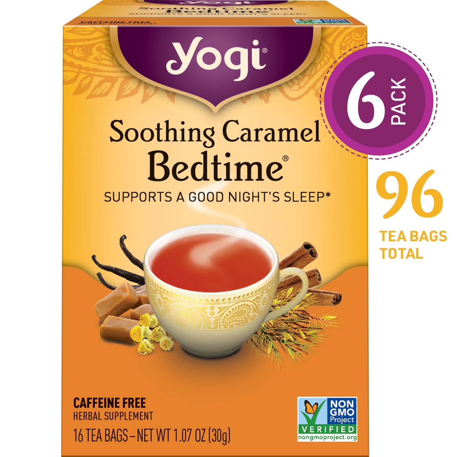 Yogi Tea - Soothing Caramel Bedtime - Supports a Good Night's Sleep - 6 Pack, 96 Tea Bags Total