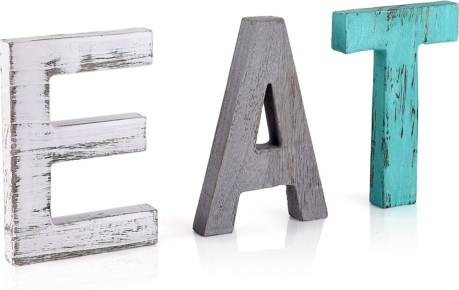EAT Sign Farmhouse Kitchen Decor - Rustic Home Decor Signs - Freestanding Wood Multicolor Cutout Art Decorations For Kitchen Counter, Dining Room, Table, or Wall