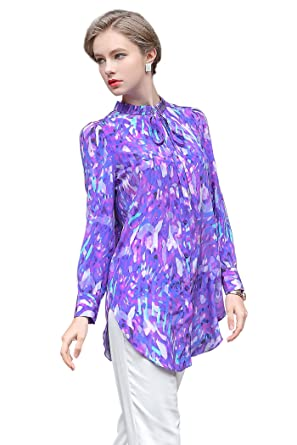 446a12a6b86dc Image Unavailable. Image not available for. Color  VOA Women s Violet  Floral Print Long Sleeve Silk Blouse Shirt ...