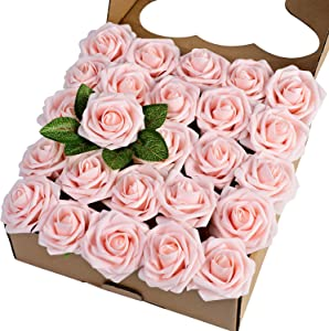 Breeze Talk Artificial Flowers Blush Roses 25pcs Realistic Fake Roses w/Stem for DIY Wedding Bouquets Centerpieces Arrangements Party Baby Shower Home Decorations (25pcs Blush)