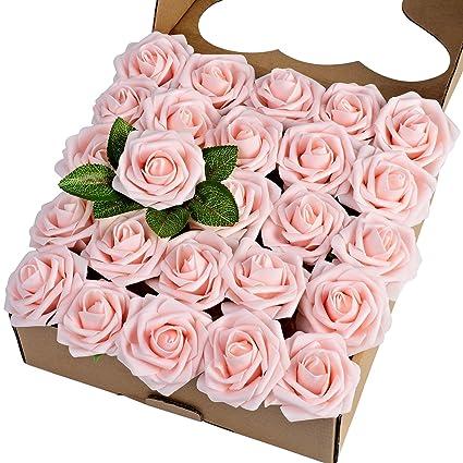 Amazon breeze talk artificial flowers blush roses 25pcs breeze talk artificial flowers blush roses 25pcs realistic fake roses wstem for diy wedding mightylinksfo
