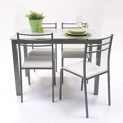 NAKURA Conjunto de Mesa de Cocina Extensible 110/140/170x70 cm+ 4 ...