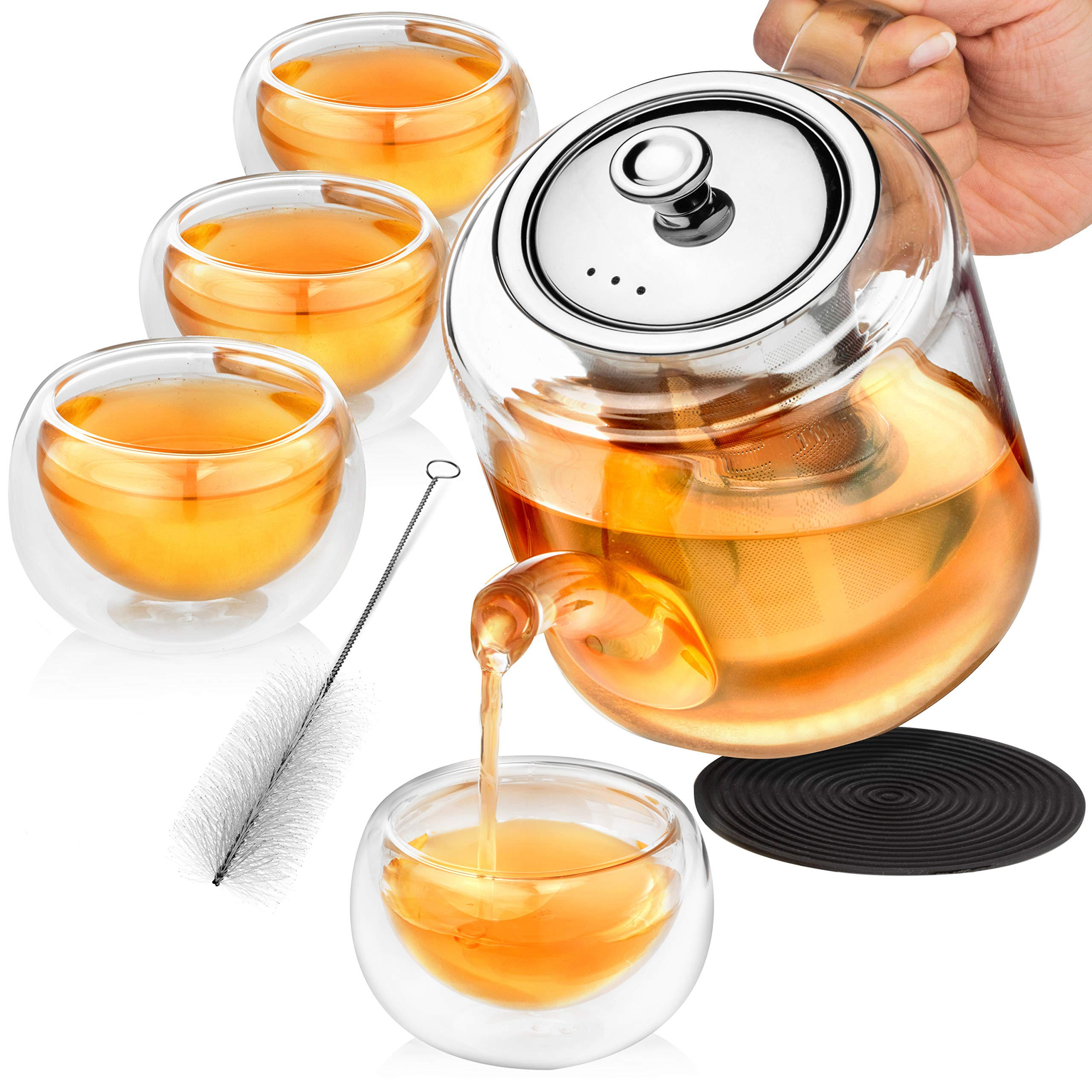 Glass Teapot Set with Infuser for Loose Tea - 1100ml Stove Top Safe Borosilicate Clear Glass Tea Pot with 4 Small Tea Cups, Silicone Trivet, & Cleaning Brush | Perfect Tea Set for Gift or Entertaining