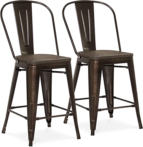 Best Choice Products 24in Set of 2 Modern Industrial Metal Counter Height Stools w Wood Seat