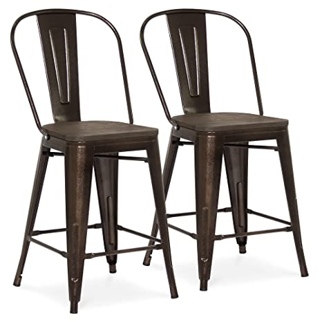 Best Choice Products 24in Set of 2 High Backrest Industrial Metal Counter  Stools - Brown