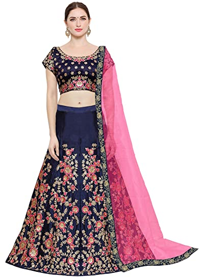 5ec98d8d63 KEDARFAB Women's Taffeta Silk Lehenga Choli with Blouse Piece (Blue Pink,  Free Size): Amazon.in: Clothing & Accessories