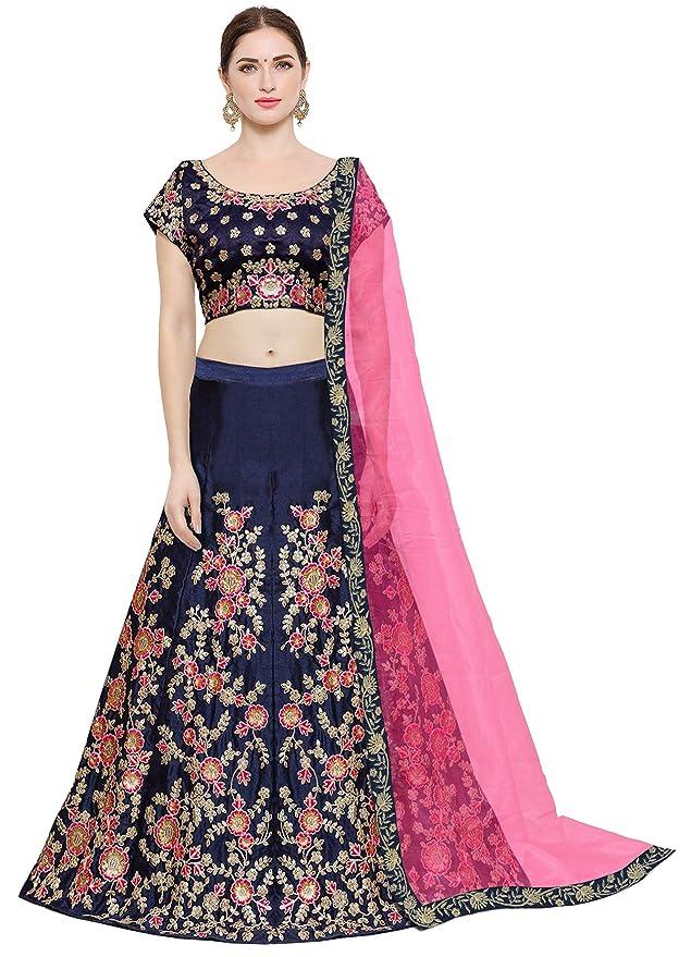 1c5f2803c9a08a KEDARFAB Women s Taffeta Silk Lehenga Choli with Blouse Piece (Blue Pink