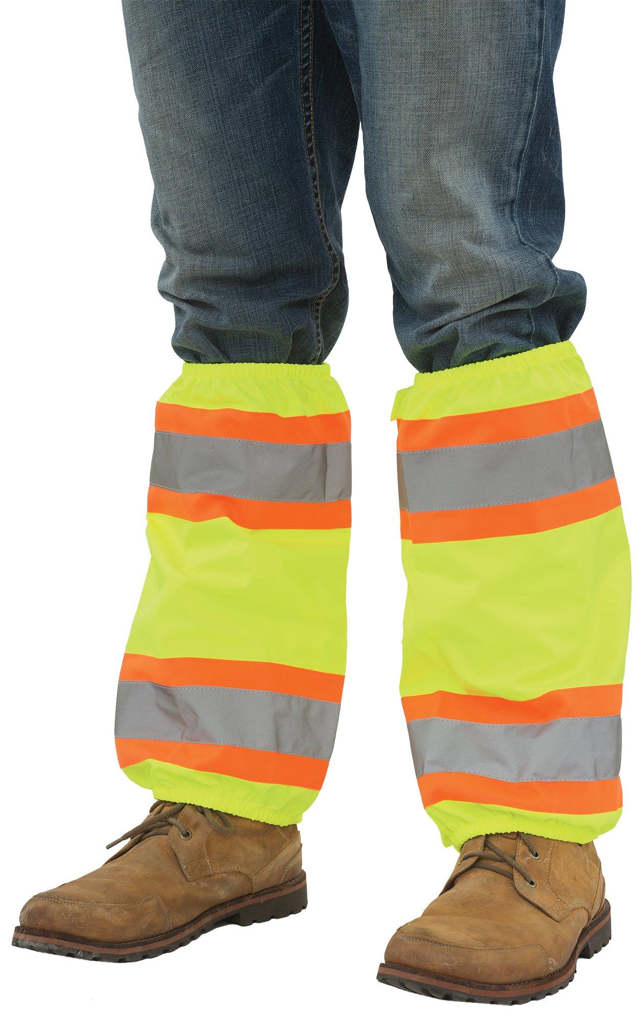 ERB Safety 61586 S487 Contrasting Trim Leg Gaiters Accessories, One Size, Hi-Viz Lime