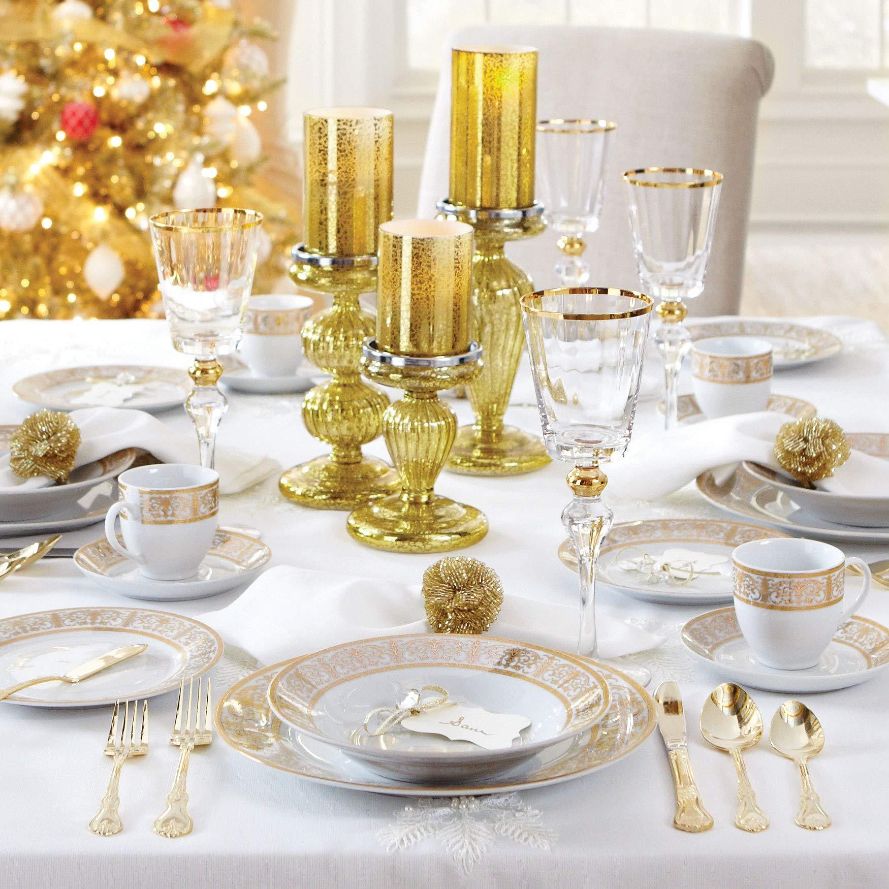 Brylanehome 40-Pc. Golden Ceramic Dinnerware Set (Gold White) - Gold White by BrylaneHome