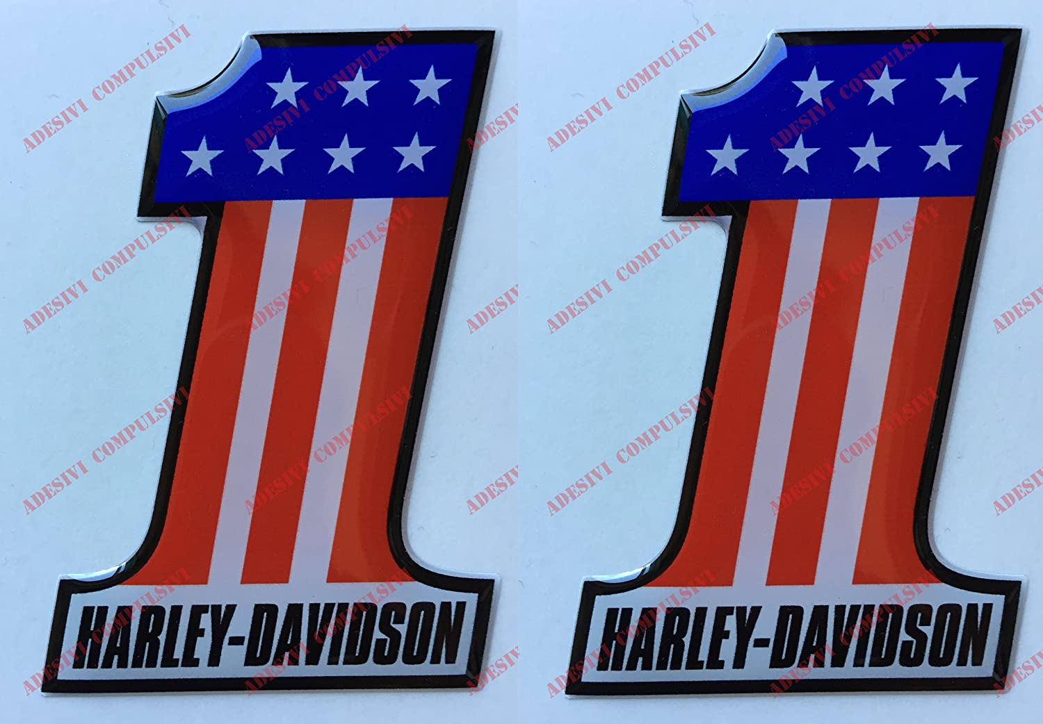 Emblè me Logo Decal Harley Davidson, Number One, U.S.A., couple Stickers, Ré sine Effet 3d. Pour ré servoir ou casque Résine Effet 3d. Pour réservoir ou casque Adesivi Compulsivi
