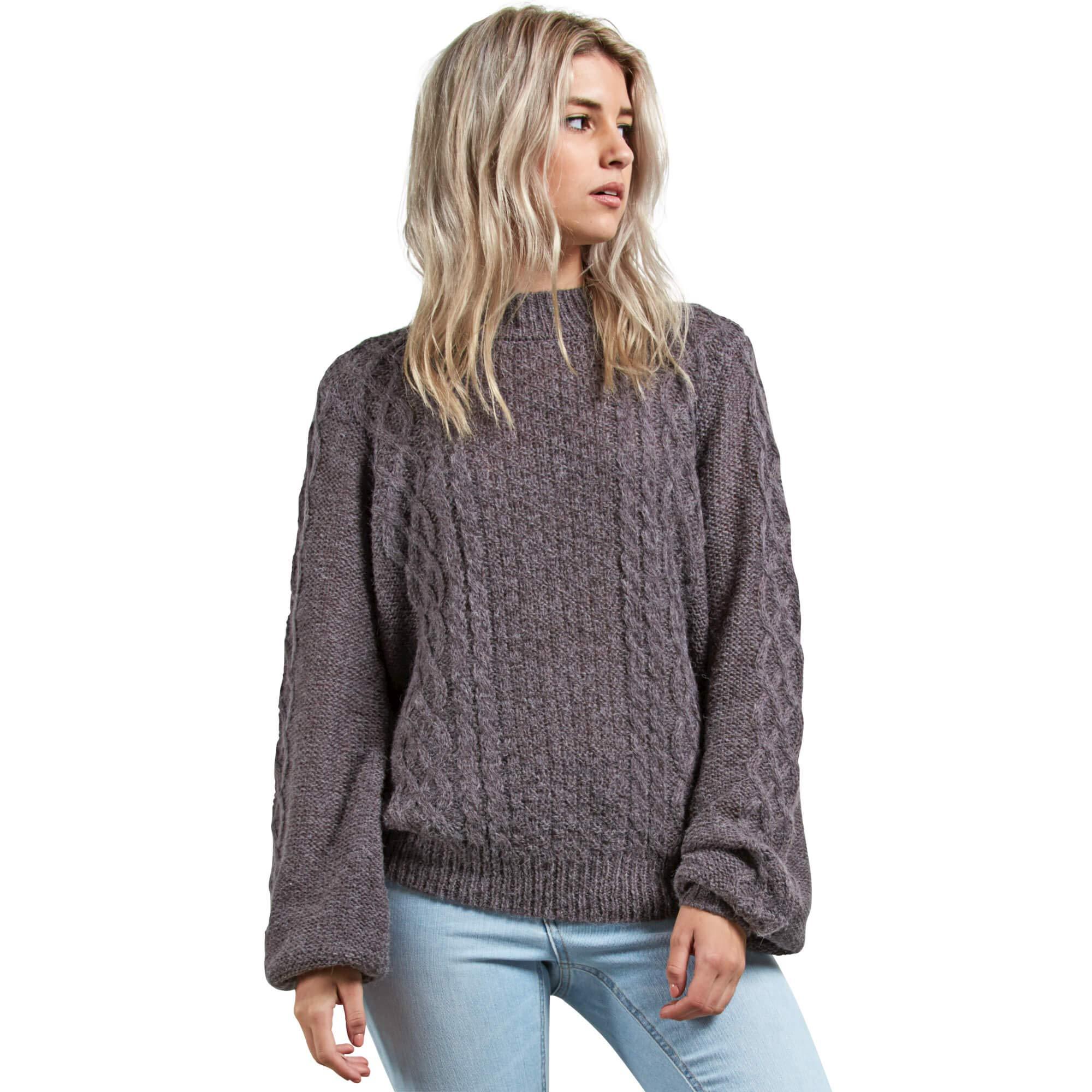 Volcom Junior's Hellooo Soft Fuzzy Pullover Crew Neck Sweater, Heather Grey, Large