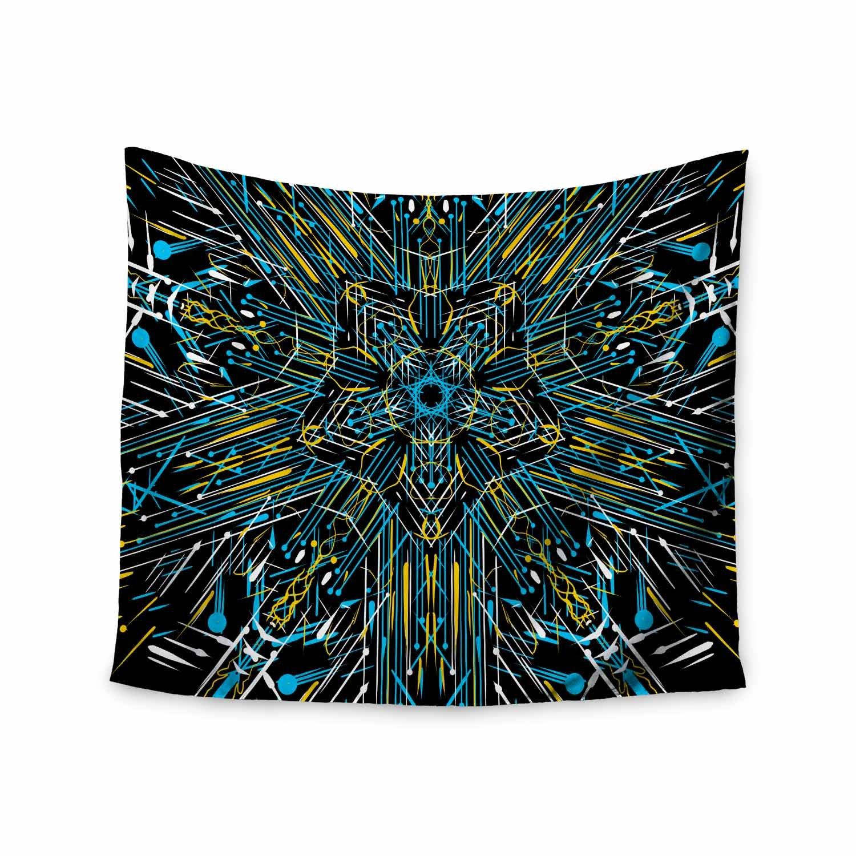 68 x 80 Wall Tapestry Kess InHouse Frederic Levy-Hadida Mandala 2 Blue Black Abstract Geometric Digital Vector