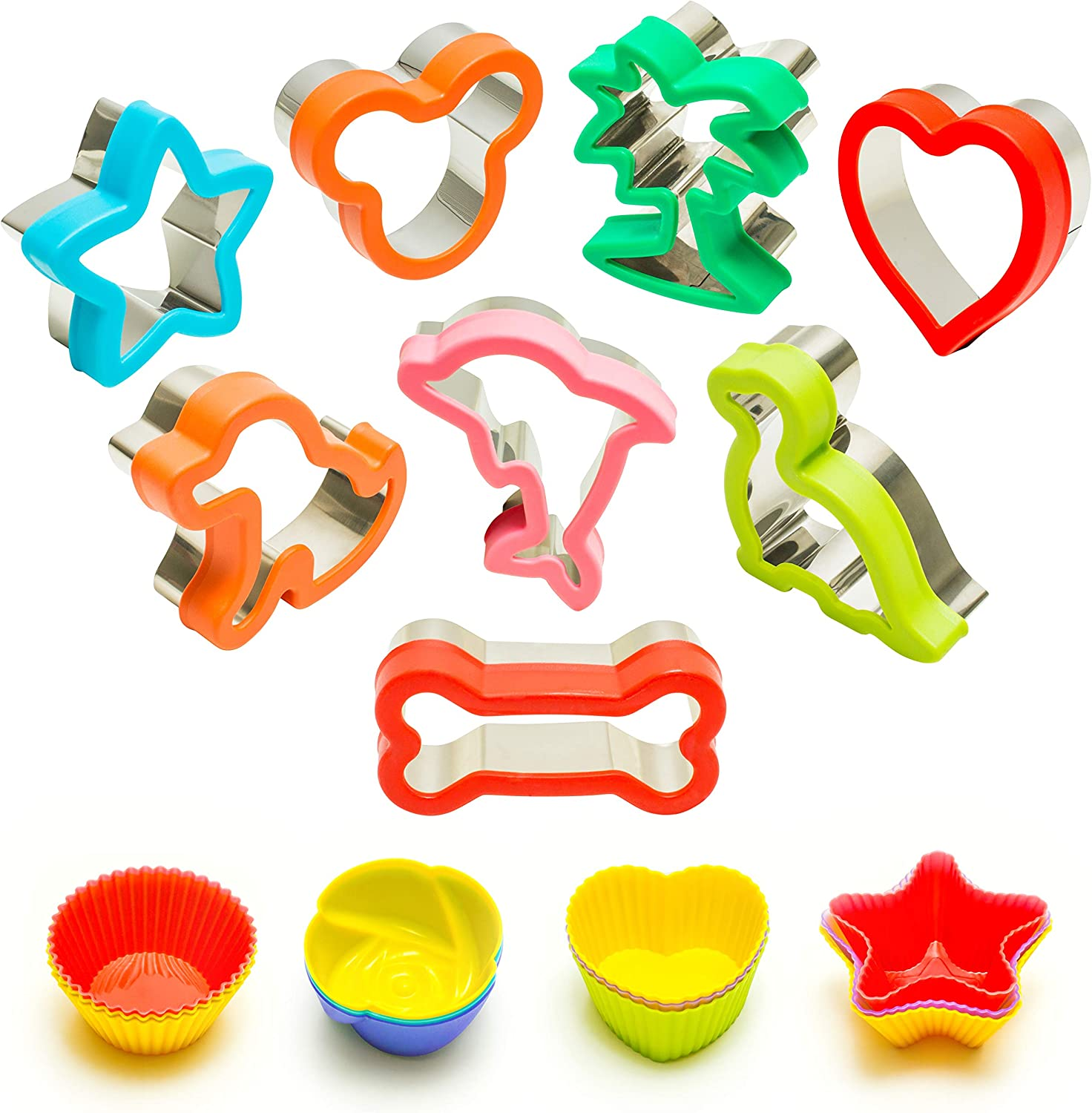Cookie Cutters Shapes - Sandwich Cutters for Kids - Mickey - Tree - Heart - Star - Dog - Dinosaur - Dolphin - Bone with 12 Reusable Silicone Baking Cups