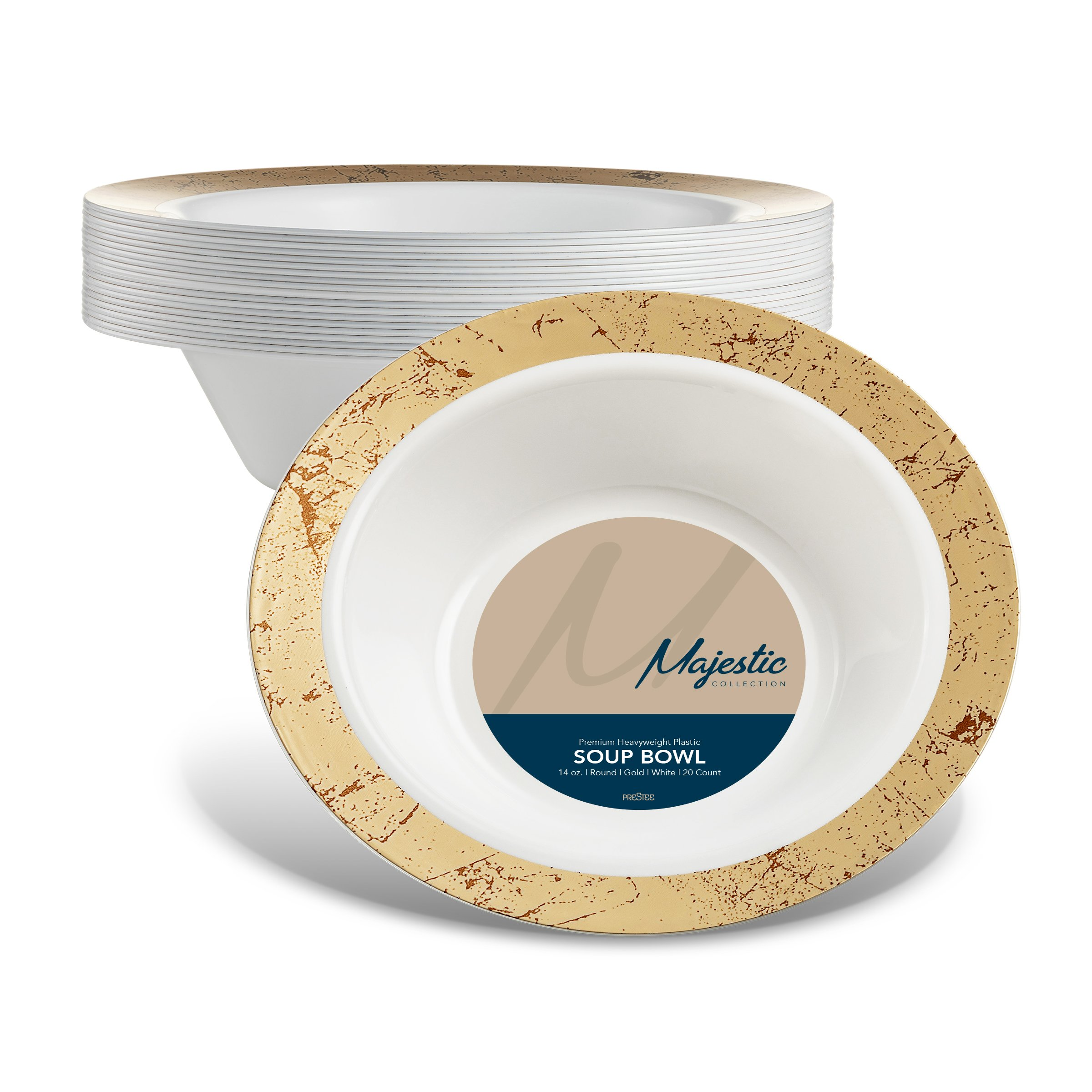 MAJESTIC 14-Oz. Plastic Soup Bowls | 20 Pack | White with Gold Speckled Rim | Disposable | For Weddings, Parties, Holidays & Occasions.