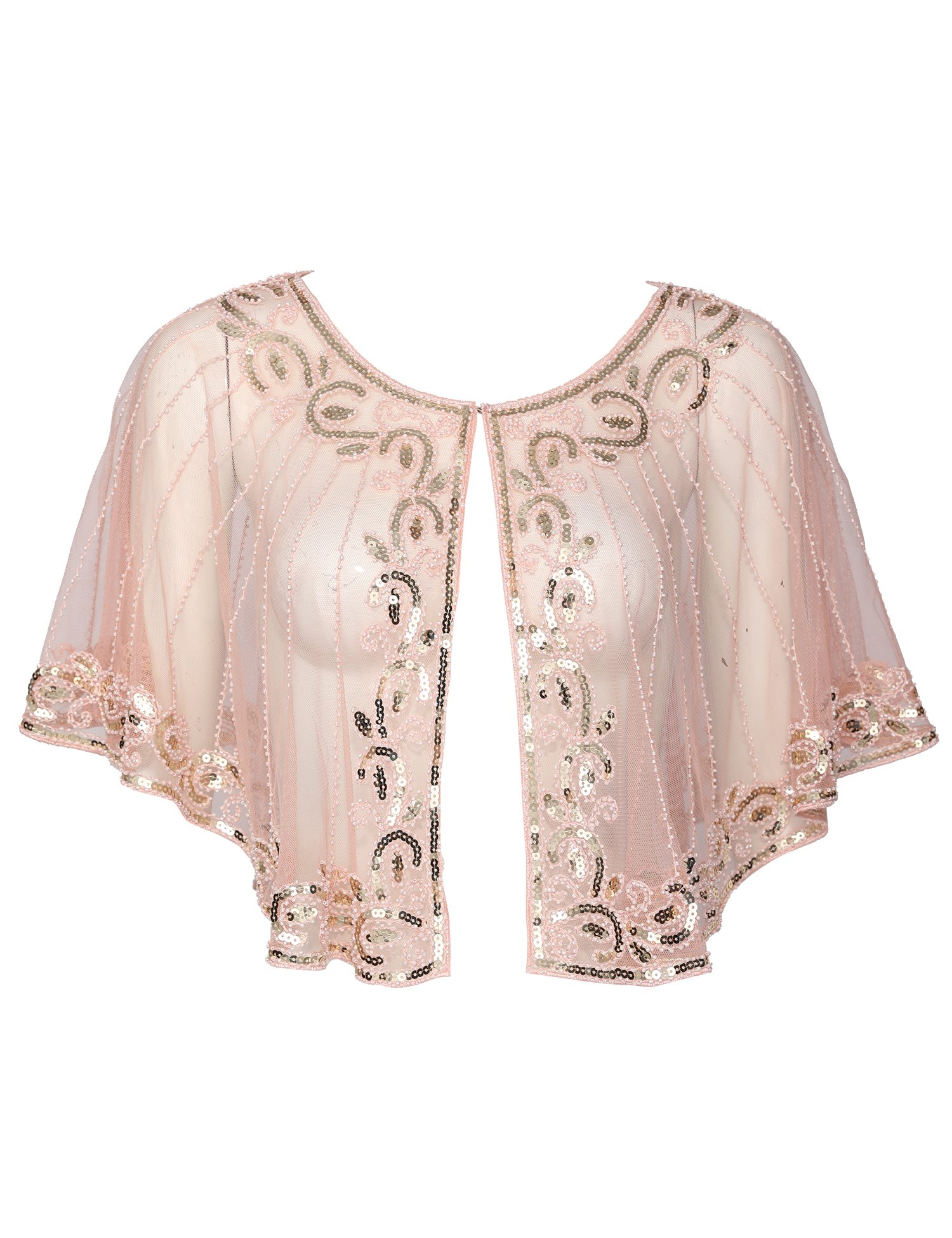 Vintage 1920s Shawl Wraps Sequin Beaded Evening Cape Wedding Shawl Bolero Cover Up (Champagne Pink)