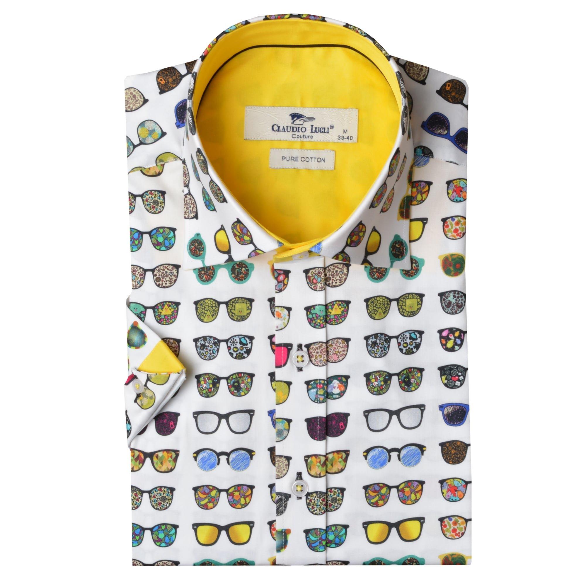 Claudio Lugli Men's Sunglasses Print Luxury Cotton Short Sleeve Summer Mens Shirt CP6251 Medium White, Yellow, Multi