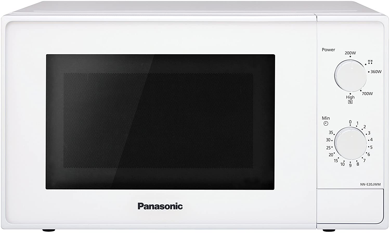 Panasonic Four Micro-Ondes Solo Compact NN-E20JWMEPG, 20 litres, Puissance 800 W, Plateau tournant 25,5 cm, Blanc