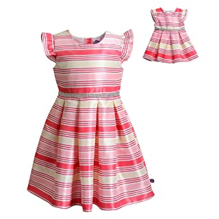 Dollie & Me Cap Sleeve Dress Set with Matching Outfit-Girl & 18 Inch Doll Clothes, Multi-Colored, 4