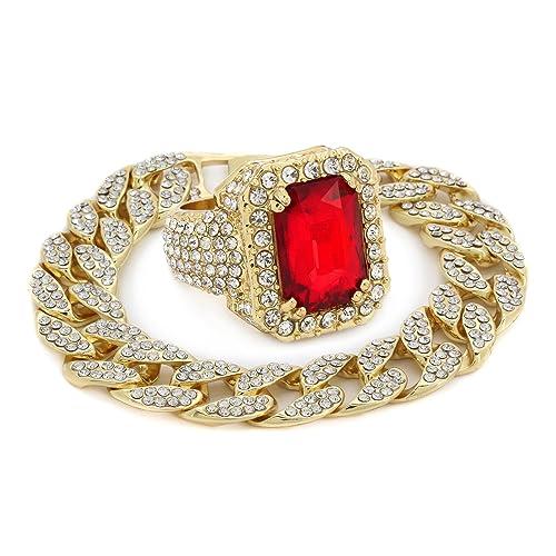 56ec320f80f48f L & L Nation Men's 14k Gold Plated Octagon Red Ruby RING & Cuban Bracelet  Fully