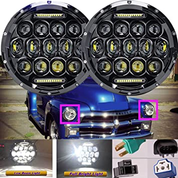 """2PCS 7/"""" Round LED Headlights Hi//Lo Sealed Beam DRL For Chevy Pickup Truck 3100"""