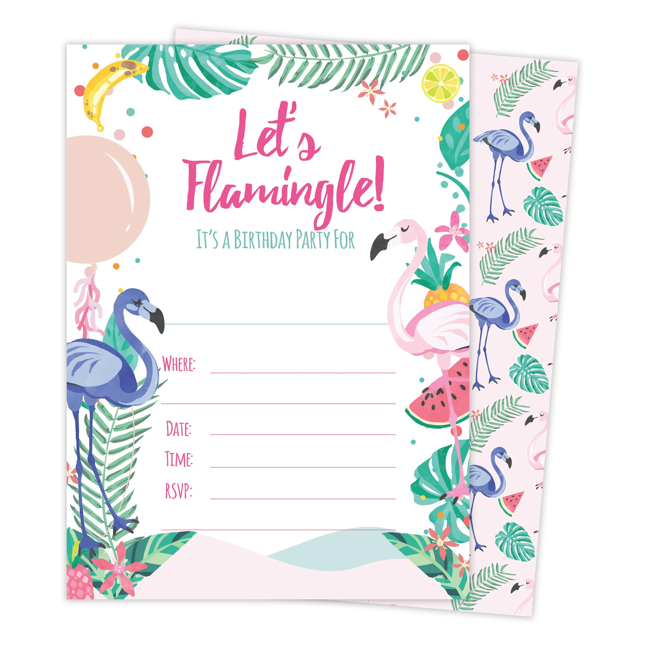 Hawaiian HI Maui Tropical Flamingo Style 3 Happy Birthday Invitations Invite Cards (25 Count) With Envelopes & Seal Stickers Vinyl Boys Girls Kids Party by Desert Cactus