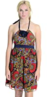 Betsey Johnson Women's Silk Halter Tie Ruffle Dress, Floral Paisley Print, 4