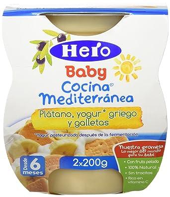 Hero Baby Cocina Mediterránea Plátano Yogur Galleta, Tarrina de Plástico - Paquete de 2 x