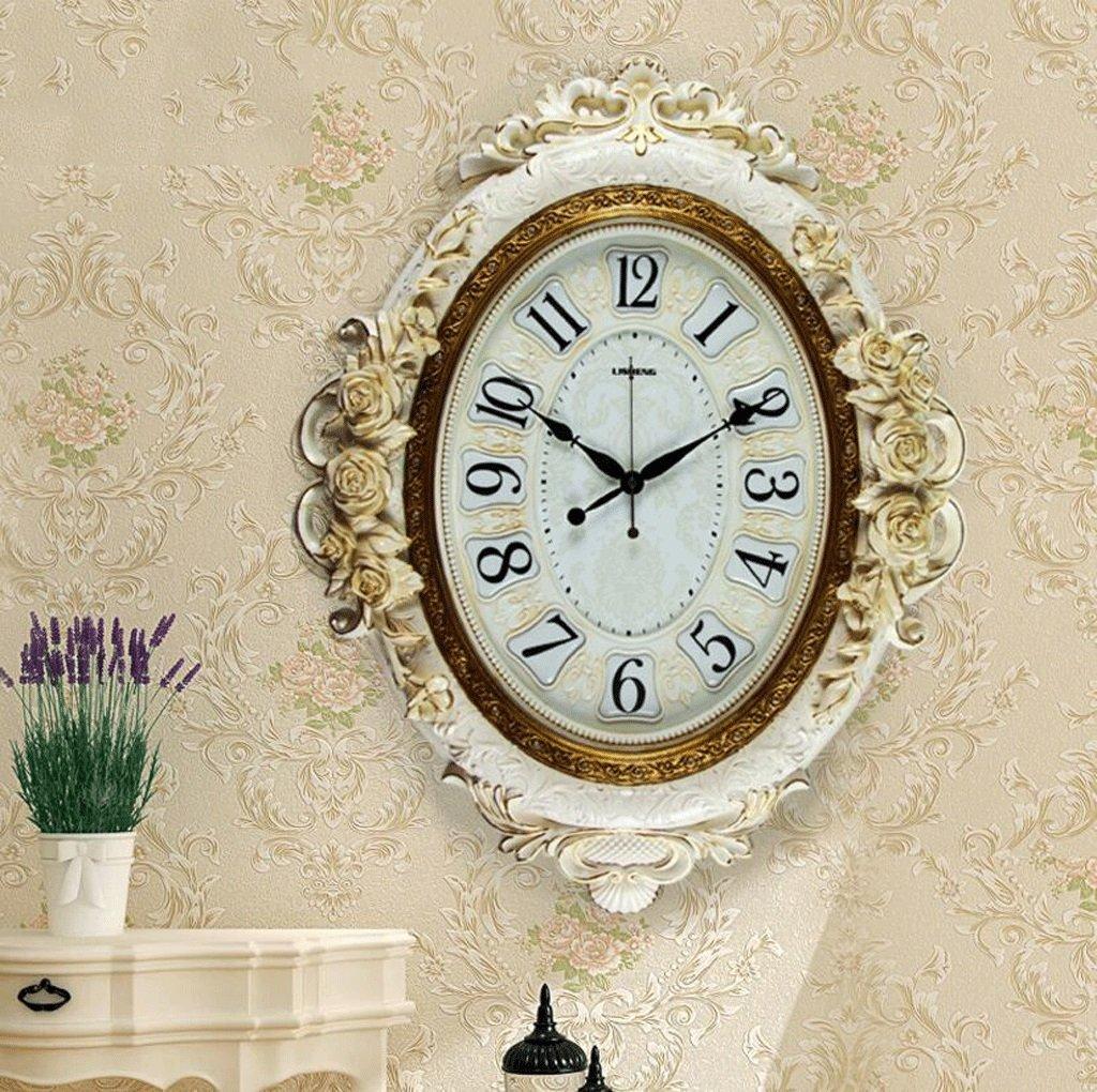 TXXM 大きな壁時計アメリカのレトロ装飾時計クォーツ時計リビングルームミュート牧歌的なファッションのアイデア (色 : A) B07F9V2F25 A A