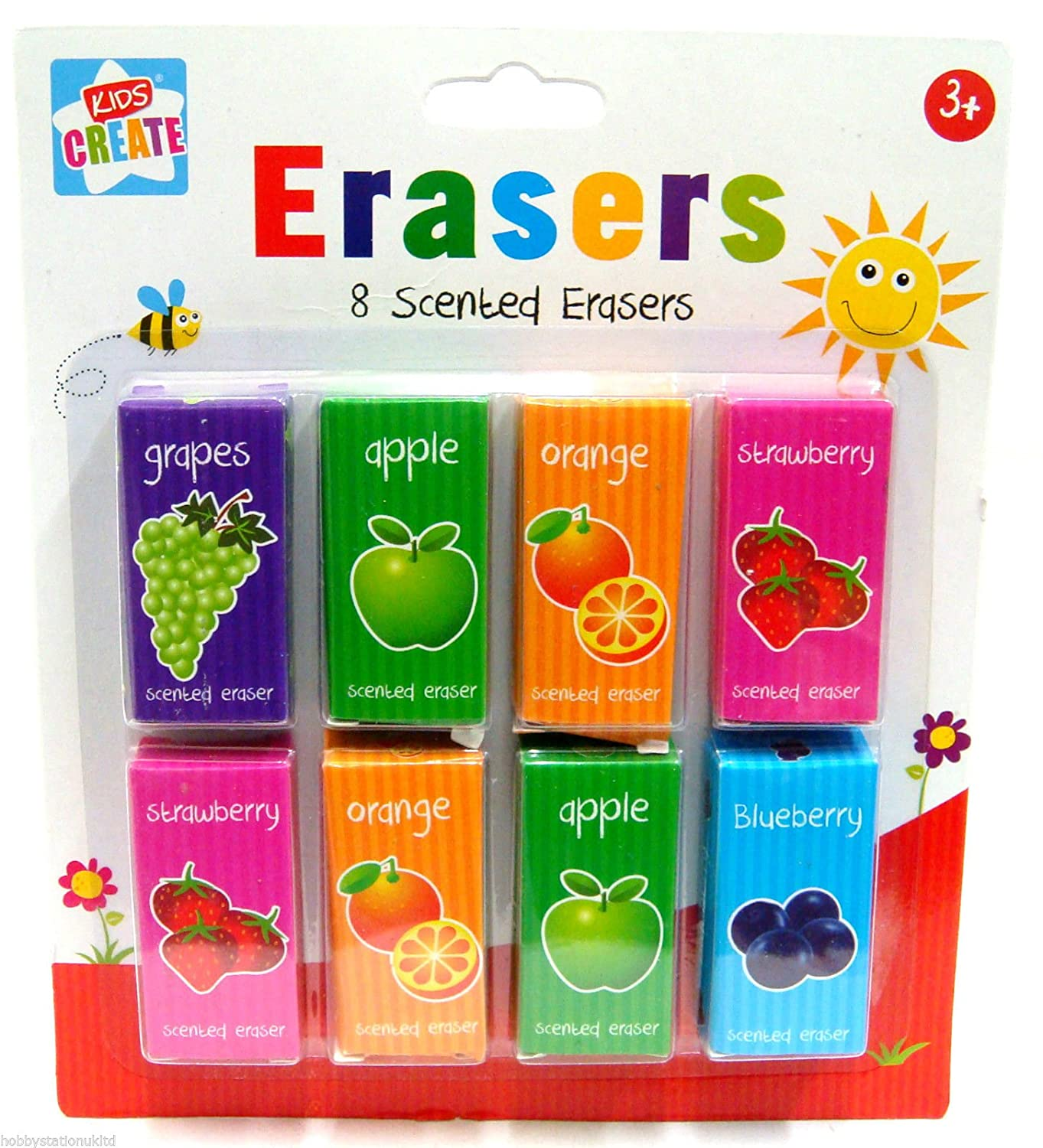 8 Fruit Scented Erasers Children Scented Rubbers Party Gift Bag Filler School Kids Create