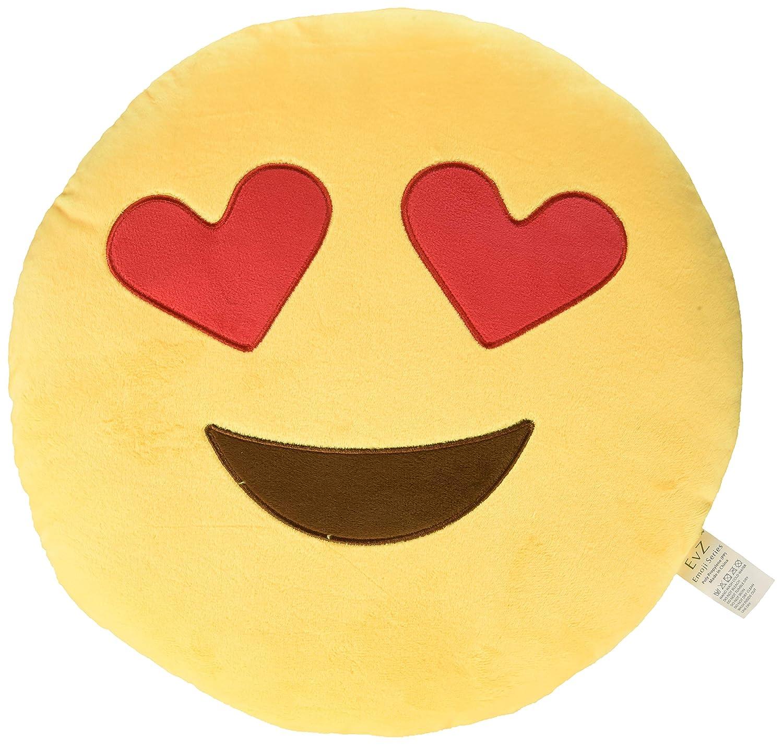 EvZ 32cm Emoji Smiley Emoticon Gelb Round Cushion Pillow Stuffed Plush Soft Toy