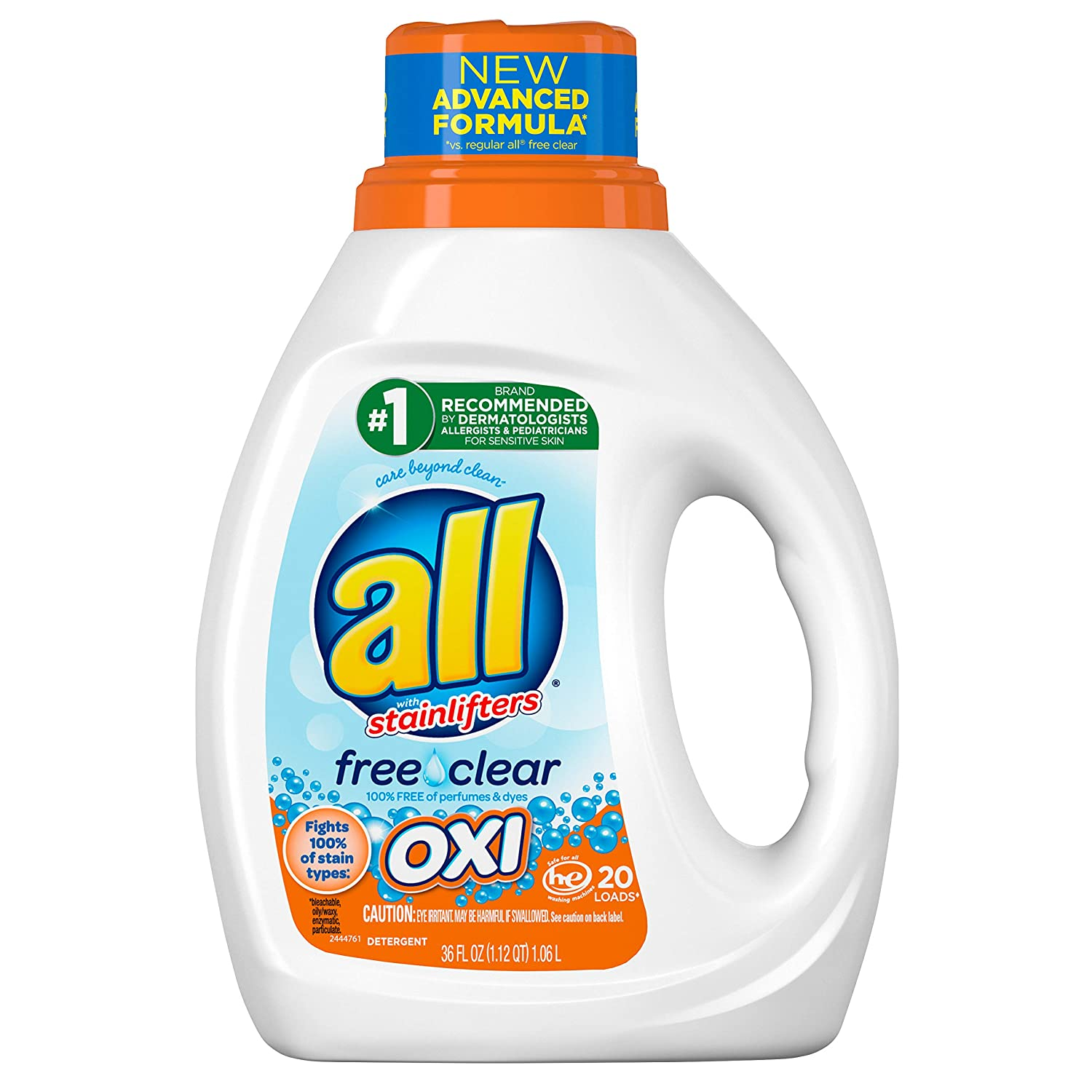 All all Liquid Laundry Detergent with OXI Stain Removers & Whiteners, Free Clear, 36 oz, 20 Loads, 36 fl oz