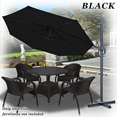 Strong Camel 11.5 Deluxe Off-Set Hanging Roma Offset Umbrella Tilt 360 Rotation Patio Heavyduty Outdoor Sunshade Cantilever Crank Black
